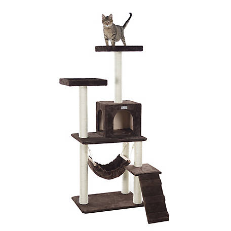 GleePet 57 in. Cat Tree, GP78570923, Coffee Brown with Ramp