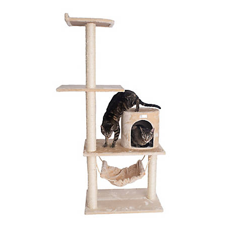 GleePet 59 in. Cat Tree, GP78590221, Beige with Hammock