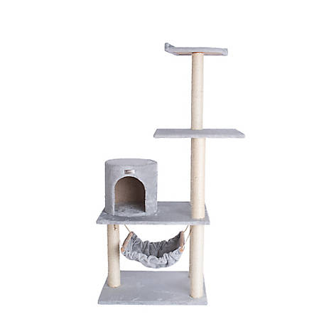 GleePet 59 in. Cat Tree, GP78590222, Silver Gray with Hammock