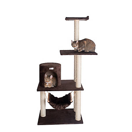 GleePet 59 in. Cat Tree, GP78590223, Coffee Brown with Hammock