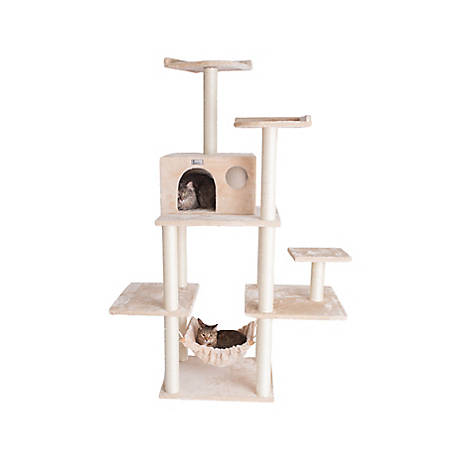 GleePet 68 in. Cat Tree, GP78680621, Beige with Hammock, 5 Levels