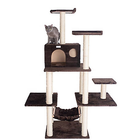 GleePet 68 in. Cat Tree, GP78680623, Coffee Brown with Hammock, 5 Levels