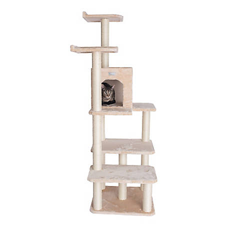 GleePet 66 in. Cat Tree, GP78680721, Beige with 4 Levels