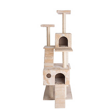GleePet 70 in. Cat Tree, GP78700621, Beige with 2 Ramps