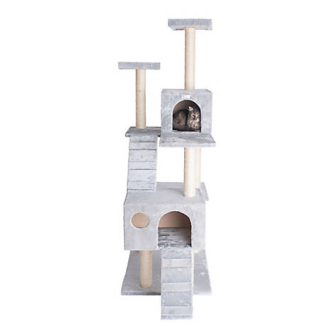GleePet 70 in. Cat Tree, GP78700622, Silver Gray with 2 Ramps