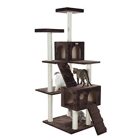GleePet 70 in. Cat Tree, GP78700623, Coffee Brown with 2 Ramps