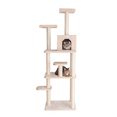 GleePet 74 in. Cat Tree, GP78740821, Beige with 7 Levels