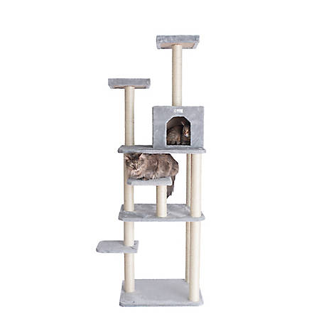 GleePet 74 in. Cat Tree, GP78740822, Silver Gray with 7 Levels