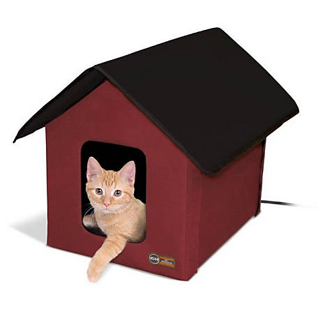 K&H Pet Products Heated Outdoor Kitty House Red, 100536553