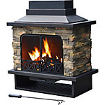 Sunjoy L-OF079PST-1 Farmington 48 in. Steel and Faux Stack Stone Outdoor Fireplace