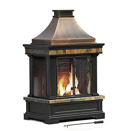 Sunjoy L-OF082PST-3 Dixon 56 in. Steel and Slate Outdoor Fireplace