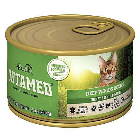 4health Untamed Deep Woods Recipe Turkey & Lentil Formula Wet Cat Food, 7.0 oz. Can