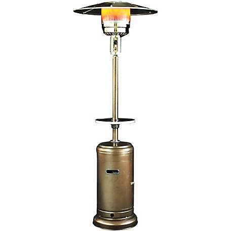 Sunheat Classic Umbrella Design Commercial Portable Propane Patio Heater with Drink Table, Golden Hammered