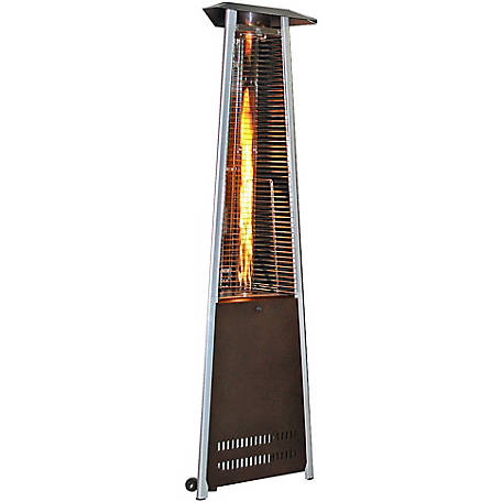 Sunheat Contemporary Triangle Design Portable Propane Commercial Patio Heater with Decorative Variable Flame, Golden Hammered