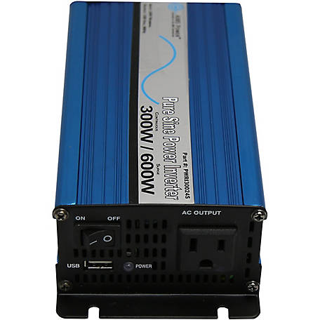 AIMS Power 300W Pure Sine Power Inverter, 12V 120VAC, Includes Cables