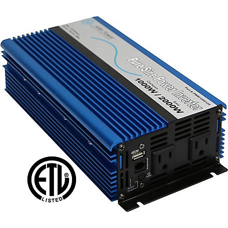 AIMS Power 1000W Pure Sine Inverter, 12VDC to 120VAC, ETL Listed