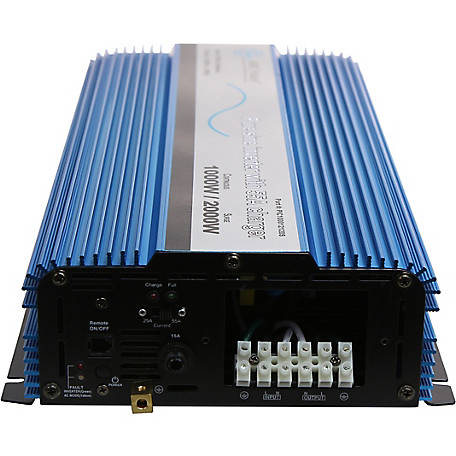 AIMS Power 1000W Pure Sine Inverter Charger with Transfer Switch, 12VDC to 120VAC
