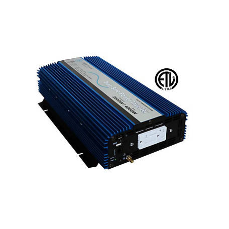 AIMS Power 2000W Pure Sine Power Inverter, 12VDC to 120VAC, ETL Listed