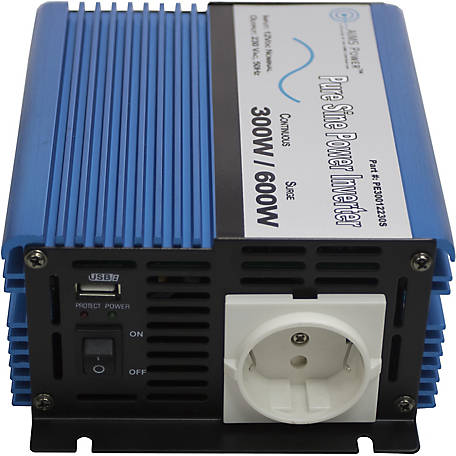AIMS Power 300W Pure Sine Inverter, 24V to 220/230VAC, European