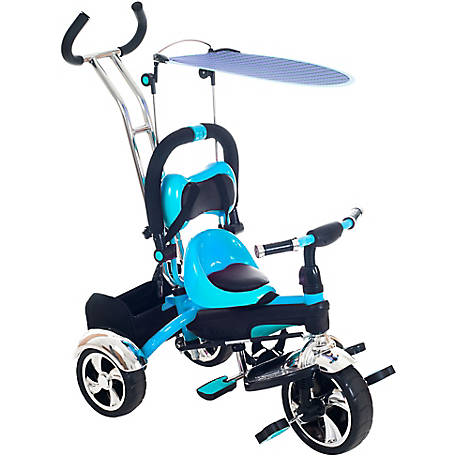 Lil' Rider 3-1 Tricycle Stroller Bike with Removable Canopy and Stroller Organizer, Blue