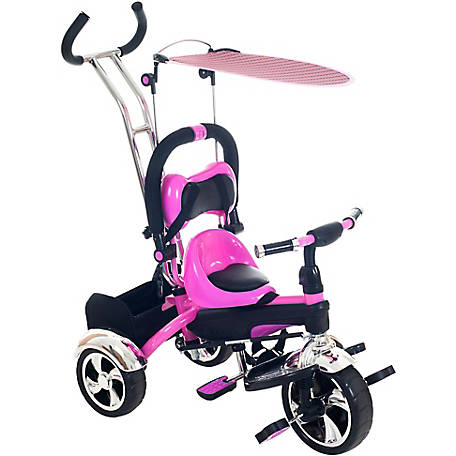 Lil' Rider 3-1 Tricycle Stroller Bike with Removable Canopy and Stroller Organizer, Pink