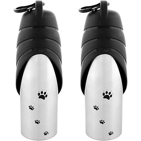Iconic Pet Handy Stainless Steel Pet Travel Water Bottle with Drinking Bowl, 750ml, Set of 2
