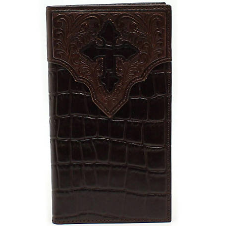 Ariat Rodeo Wallet, Faux Croc with Cross Overlay
