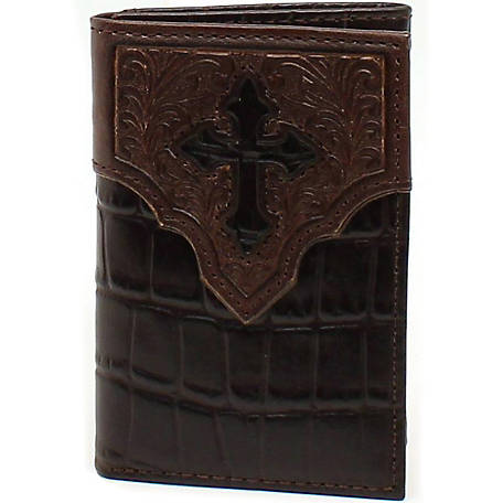 Ariat Trifold Wallet, Faux Croc with Cross Overlay