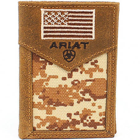 Ariat Trifold Wallet, Patriot Camo with Flag