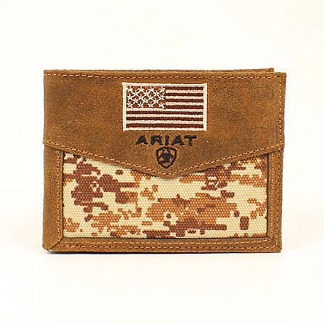 Ariat Bifold Wallet, Patriot Camo with Flag