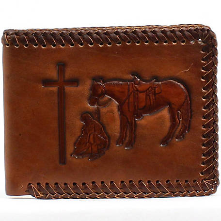 Nocona Bifold Wallet, Cowboy Prayer with Laced Edge