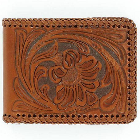 Nocona Bifold Floral Embossed Wallet with Laced Edge