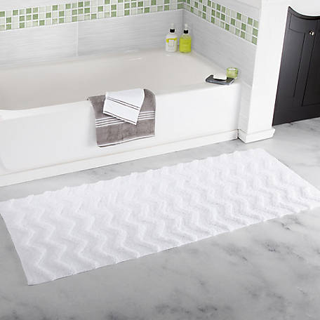 Lavish Home 100% Cotton Chevron Bathroom Mat, 24 in. x 60 in.