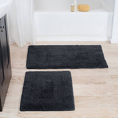 Lavish Home Cotton Bath 2-Piece 100% Cotton Mat Set