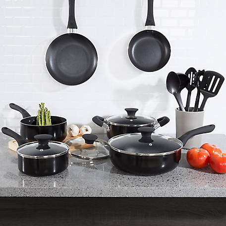 Classic Cuisine 15-Piece Cookware Set, Black