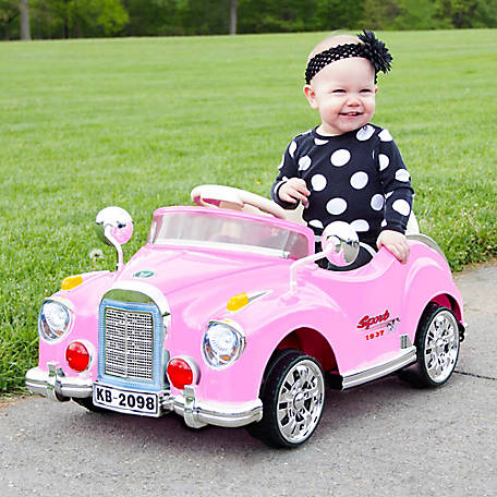 Lil' Rider Classic Car Coupe Ride-On, Battery Powered with Remote Control and Sound, Pink