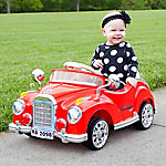 Lil' Rider Classic Car Coupe Ride-On Toy, Battery Powered with Remote Control and Sound, Red