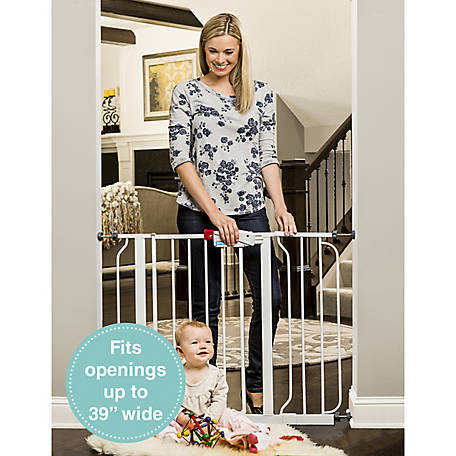 Regalo Easy Step Walk Thru Gate, White, Fits Spaces between 29 in. to 39 in. Wide