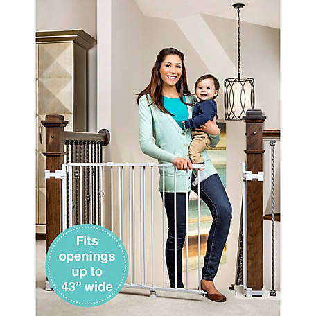 Regalo Top Of Stairs Expandable Metal Gate, With Mounting Kit, White