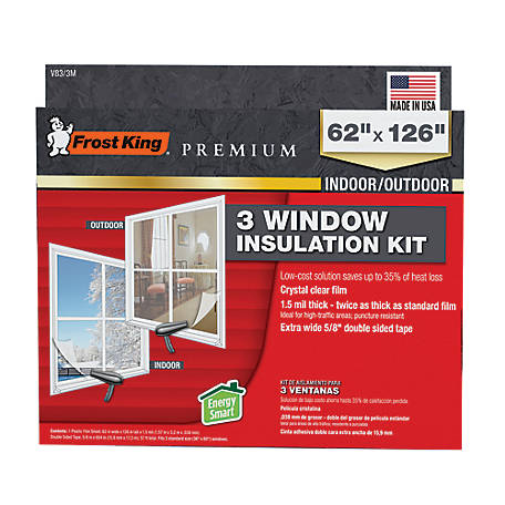 Frost King Premium Indoor/Putdoor Window Film Insulation Kit for 3 Standard Windows