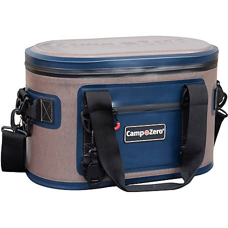Camp-Zero 30-Can Soft-Sided Premium Cooler, Beige/Blue