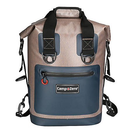 Camp-Zero 30-Can Soft-Sided Premium Backpack Premium Cooler, Beige/Blue