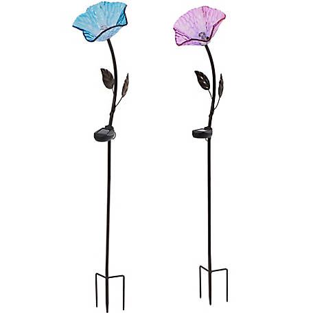 Sunjoy LED Flower Garden Stake With Solar LED Set, Hibiscus At Tractor  Supply Co.
