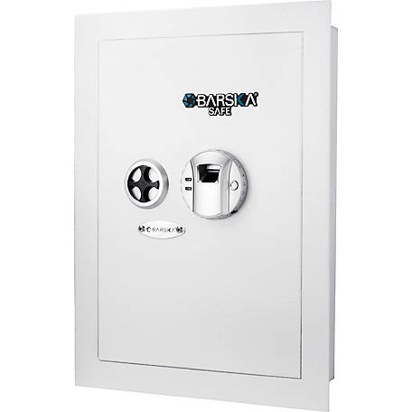 Barska White Biometric Wall Safe