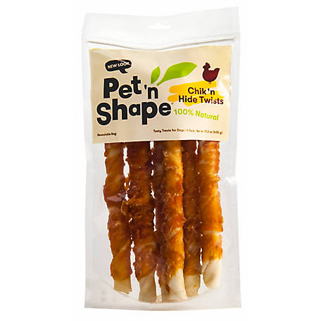 Pet 'n Shape Chicken Wrapped Rawhide Twists, 6 Pack