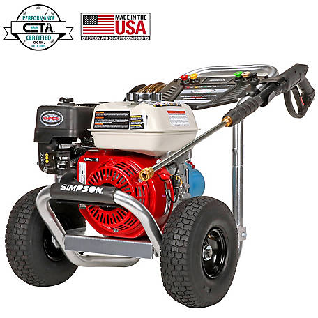 Simpson Aluminum 3400 PSI at 2.5 GPM HONDA GX200 with CAT Triplex Plunger Pump Cold Water Professional Gas Pressure Washer 60735