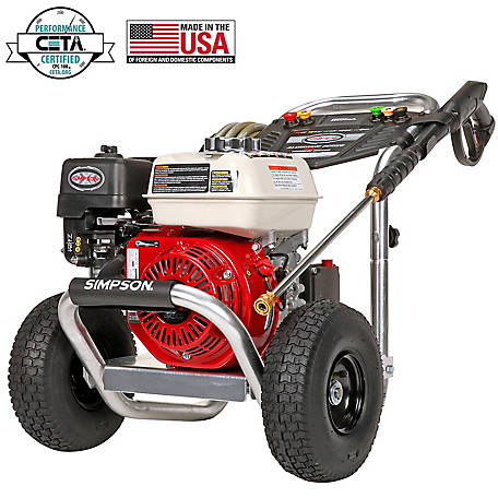 SIMPSON Aluminum 3600 PSI 2.5 GPM HONDA GX200 with AAA Triplex Plunger Pump Cold Water Professional Gas Pressure Washer, 60689