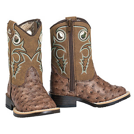 DBL Barrel Boy's Brant Ostrich Print Boot