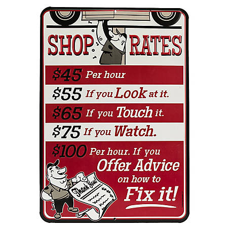 Open Road Brands Shop Rates Red Embossed Tin Sign