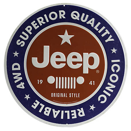 Open Road Brands Jeep Round Embossed Tin Sign